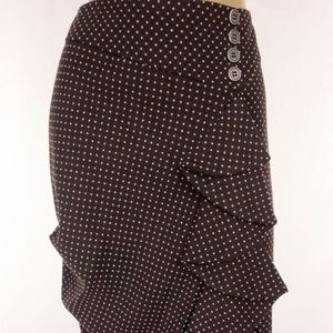 Fitted Ruched Polka Dot Pencil Skirt Size 12